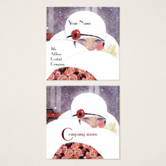 WOMAN IN THE SNOW,WINTER BEAUTY FASHION MONOGRAM SQUARE BUSINESS CARD
