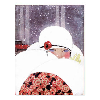 WOMAN IN THE SNOW,WINTER BEAUTY FASHION POST CARD