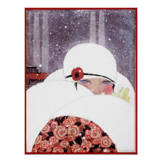 WOMAN IN THE SNOW,WINTER BEAUTY FASHION POSTER