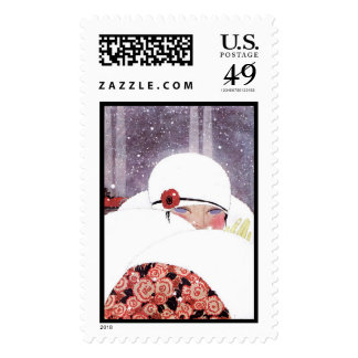 WOMAN IN THE SNOW,WINTER BEAUTY FASHION STAMPS