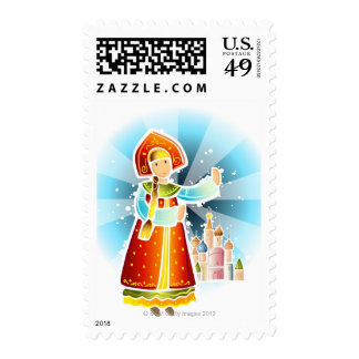 Woman in traditional Russian costume Postage