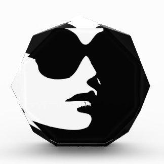 Woman in trendy eye wear acrylic award