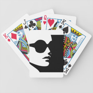 Woman in trendy eye wear bicycle playing cards