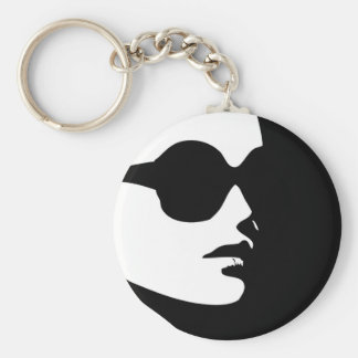 Woman in trendy eye wear keychain