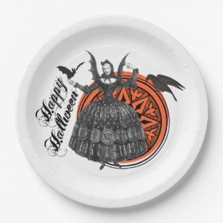 Woman in Vintage Halloween Costume with Bat Wings Paper Plate