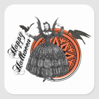 Woman in Vintage Halloween Costume with Bat Wings Square Sticker