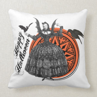 Woman in Vintage Halloween Costume with Bat Wings Throw Pillow