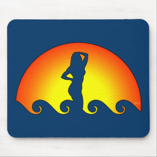 Woman In Waves Mousepads