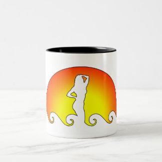 Woman In Waves Two-Tone Coffee Mug