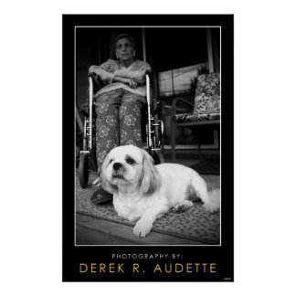 Woman in Wheel Chair and Small Dog Poster