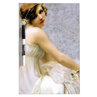 Woman in White Dress painting Dry Erase Board