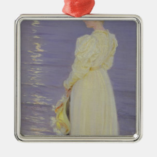 Woman in White on a Beach, 1893 Metal Ornament