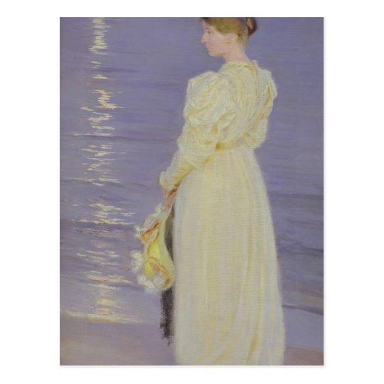 Woman in White on a Beach, 1893 Postcard