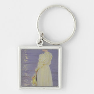 Woman in White on a Beach, 1893 Silver-Colored Square Keychain