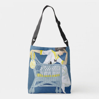 Woman in White on Wicker Chair Thinking Crossbody Bag