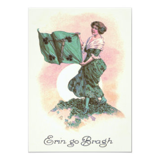 Woman Irish Flag Harp Shamrock Card