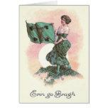 Woman Irish Flag Harp Shamrock Card