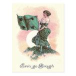 Woman Irish Flag Harp Shamrock Postcard