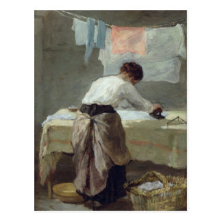 Woman Ironing Postcard