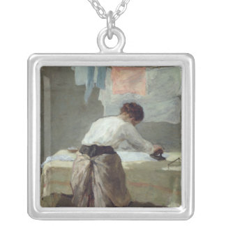 Woman Ironing Silver Plated Necklace
