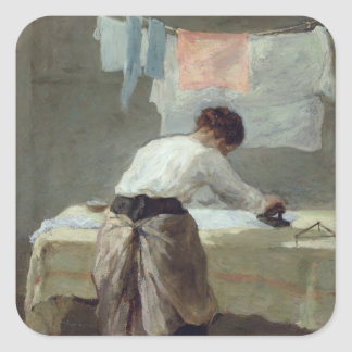 Woman Ironing Square Sticker