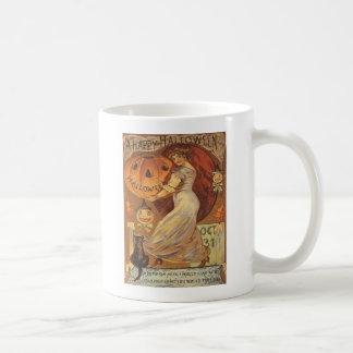 Woman & Jack O' Lantern Classic White Coffee Mug