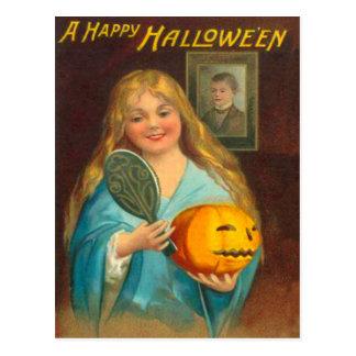 Woman & Jack O' Lantern Postcard