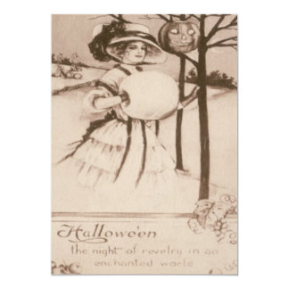 Woman Jack O' Lantern Pumpkin Crescent Moon Card