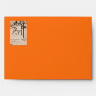 Woman Jack O' Lantern Pumpkin Crescent Moon Envelope
