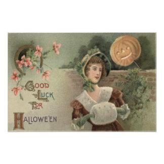 Woman Jack O Lantern Pumpkin Evergreen Horseshoe Photo Print