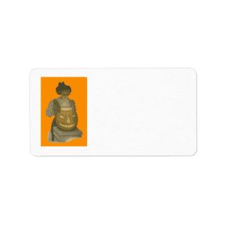 Woman Jack O Lantern Pumpkin Label