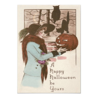 Woman Jack O' Lantern Pumpkin Owl Card