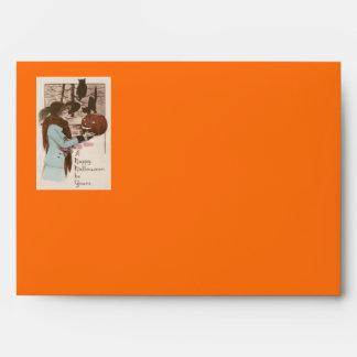 Woman Jack O' Lantern Pumpkin Owl Envelope