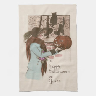 Woman Jack O' Lantern Pumpkin Owl Kitchen Towel