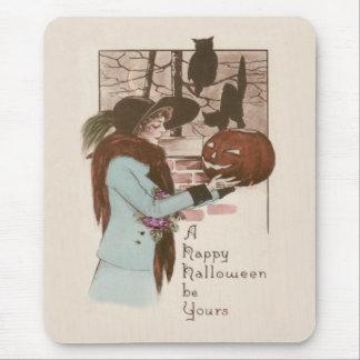 Woman Jack O' Lantern Pumpkin Owl Mouse Pad