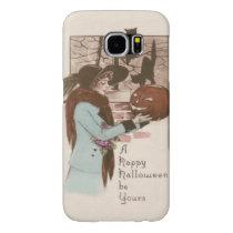 Woman Jack O' Lantern Pumpkin Owl Samsung Galaxy S6 Case