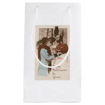 Woman Jack O' Lantern Pumpkin Owl Small Gift Bag