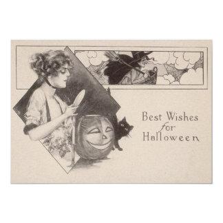 Woman Jack O' Lantern Pumpkin Witch Black Cat 5x7 Paper Invitation Card