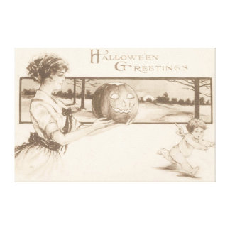Woman Jack O' Lantern Scaring Cupid Canvas Print