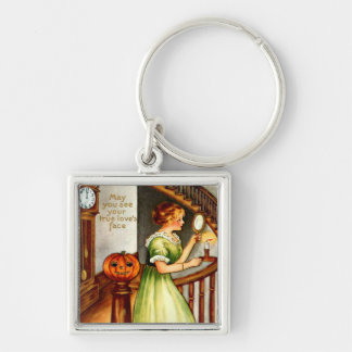 Woman & Jack O' Lantern Silver-Colored Square Keychain