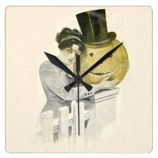 Woman Jack O' Lantern Top Hat Pumpkin Square Wall Clock