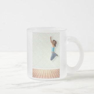 Woman Jumping Frosted Glass Coffee Mug