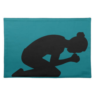Woman Kneeling in Prayer. Pray Without Ceasing Cloth Placemat