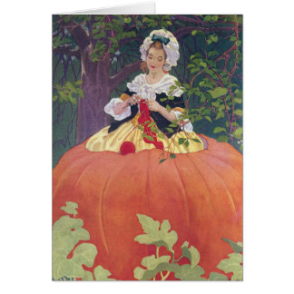 Woman Knitting in Pumpkin Card