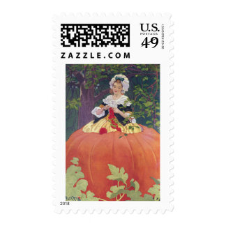 Woman Knitting in Pumpkin Postage Stamps
