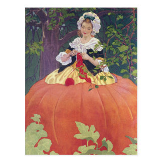Woman Knitting in Pumpkin Post Card