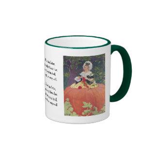 Woman Knitting in Pumpkin Ringer Mug