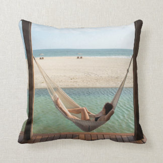 Woman Laying On A Hammock At A Small Hotel Throw Pillow