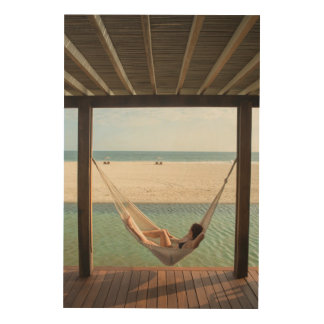 Woman Laying On A Hammock At A Small Hotel Wood Print