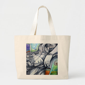 woman laying on her side large tote bag